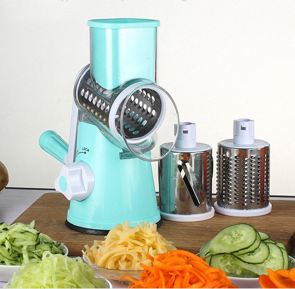 Manuelle Roller Gemüse Slicer Mandoline Cutter Kartoffel Chopper Karotte Reibe Abnehmbare 3 Edelstahl Klinge Nicht-Slip Basis