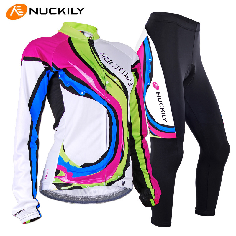 NUCKILY 2016 Roupa Ciclismo Feminina Cycling Jersey Sets Breathable Long Sleeve Jersey + Pants Suit Female Bicycle Bike Clothing 2016 custom roupa ciclismo summer any color any size any design cycling jersey and diy bicycle wear polyester lycra cycling sets