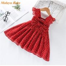 купить Malayu Baby Summer Baby Girls Clothes Polka Dot Princess Red Dresses Kids Dresses For Girls Chiffon Sundress For Girls Dress дешево