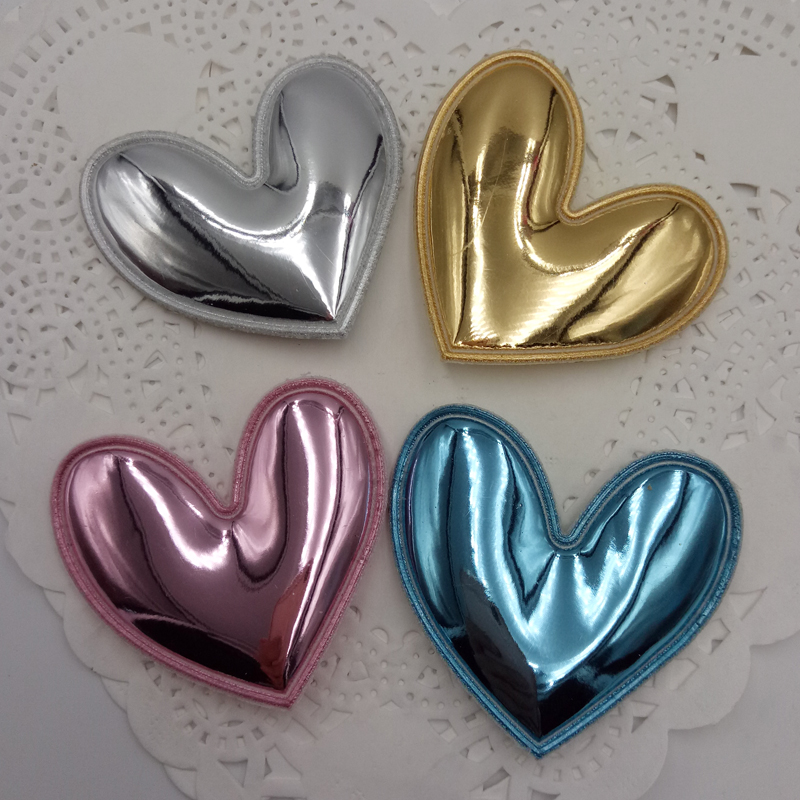 PU patches 4.5cm Padded Felt heart shape 40pcs/lot garment appliques for decoration DIY hair accessories