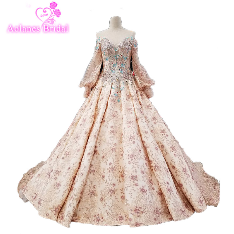 Beautiful Wedding Ball Gowns: Beautiful Flower Print Floral Wedding Dresses Real Photo