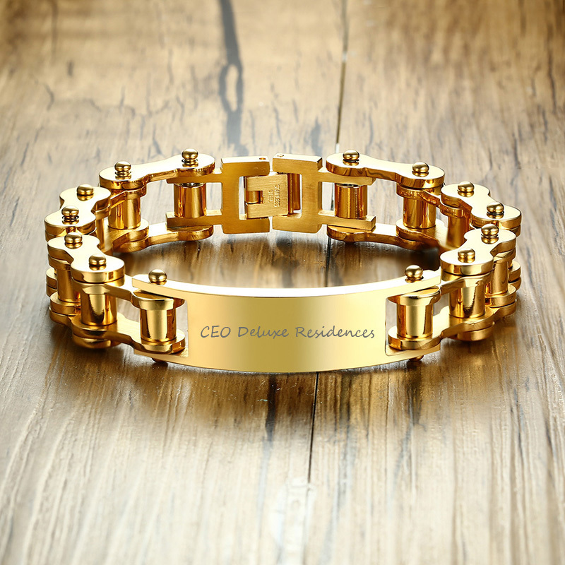 Mens Gold Tone Heavy Bicycle Chain Link ID Bracelet for Men Stainless Steel Bike Wristband Braslet Male Jewelry Gift 23.5cm
