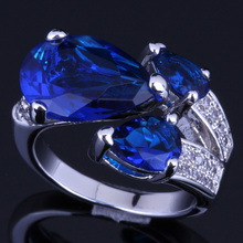 Romantic Pear Blue Cubic Zirconia White CZ 925 Sterling Silver Ring For Women V0148