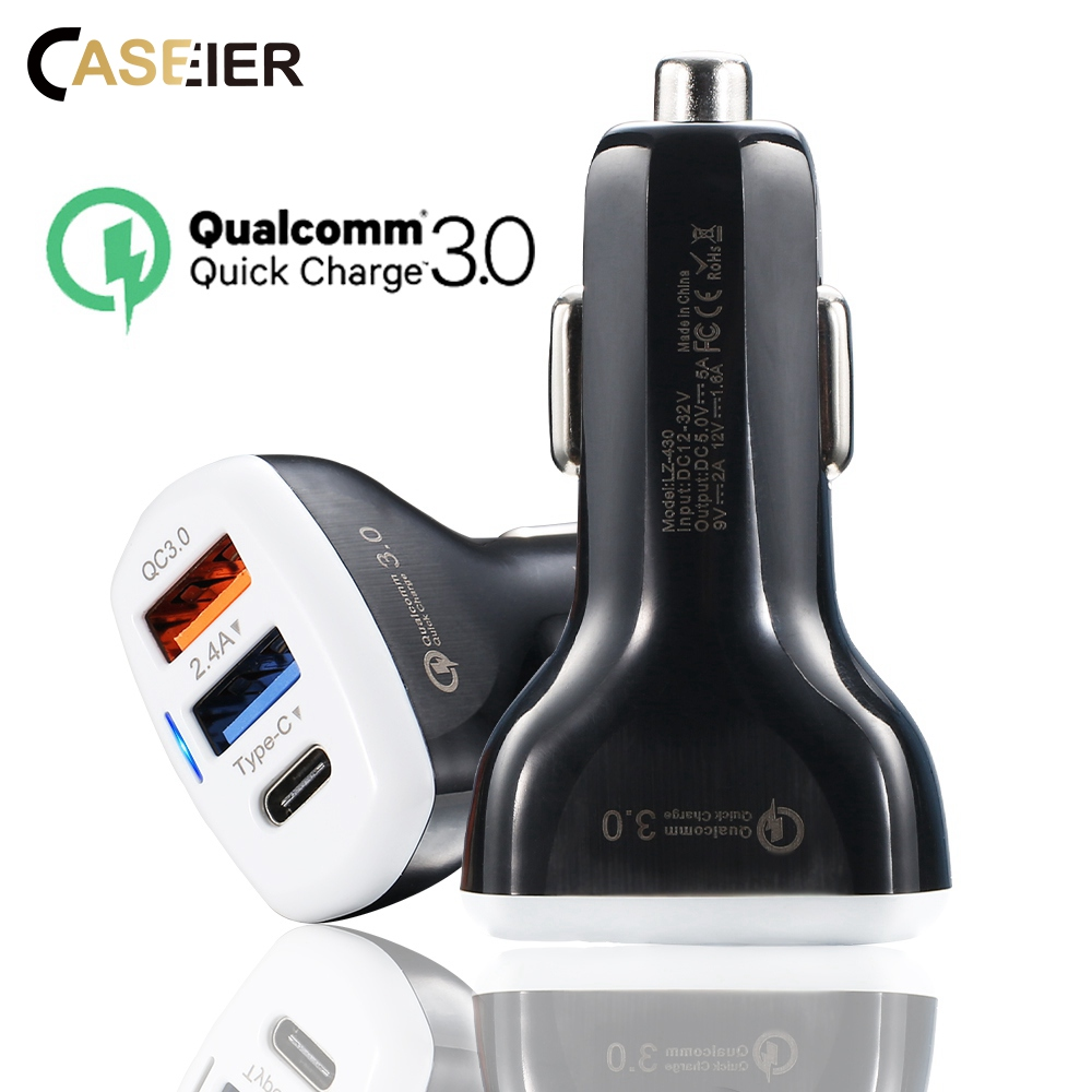 CASEIER Car-Charger Mobile-Phone-Tablet-Charger Type-C IPhone Xr Samsung Qc 3.0 USB