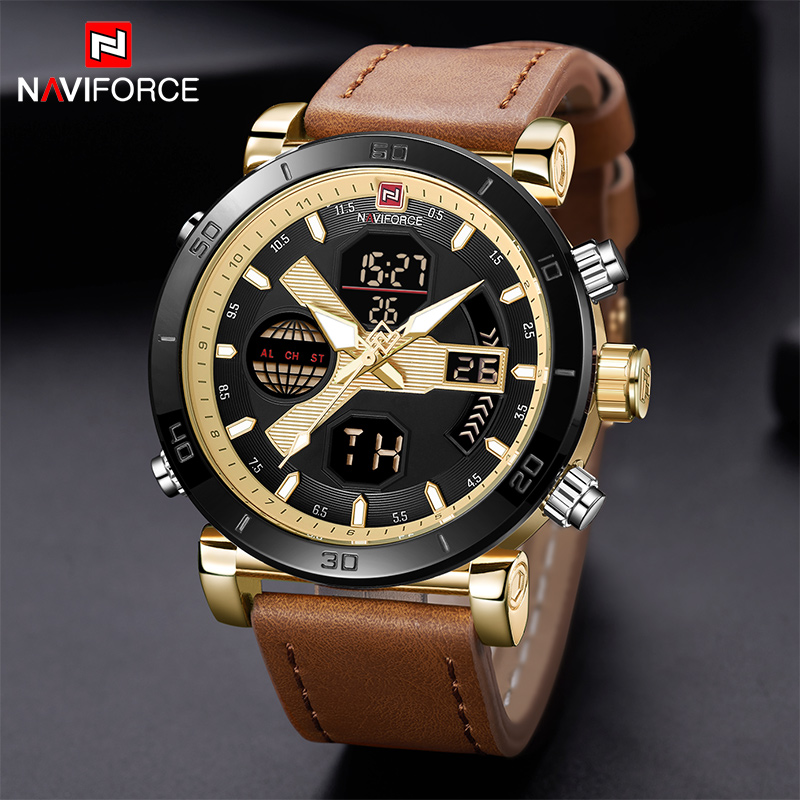 NAVIFORCE New Arrival Men Watches Military Waterproof Leather Men's Sport Watch Dual Display Hour multifunction Man Wristwatches new safurance welders dual leather
