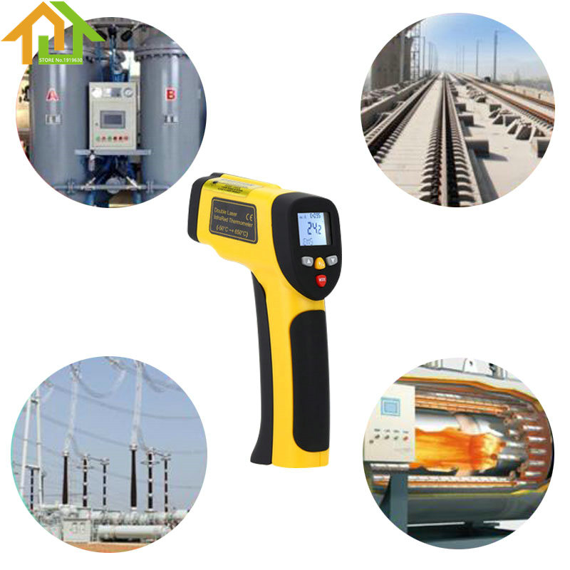 ФОТО Backlight LCD Display -50-1050 Digital Dual Laser Infrared Thermometer Non-contact IR High Temperature Gun Tester Pyrometer