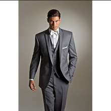wedding suit gray 3 piece suits men groom tuxedo for 2017 custom made suit wear wool bleed