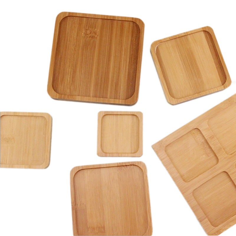 1 pc Square Bamboo Flower Pot Tray 4