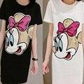 Summer dress mujeres de algodón camiseta larga dress ratón lentejuelas ocio camiseta floja dress vestidos ropa negro color blanco