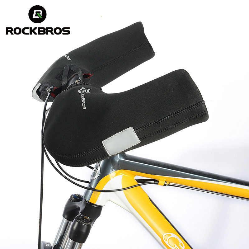 Rockbros Winter Warm Windproof Bicycle Handlebar Cycling Gloves Waterproof Mountain Road Heated Bike Gloves Men Riding Mittens