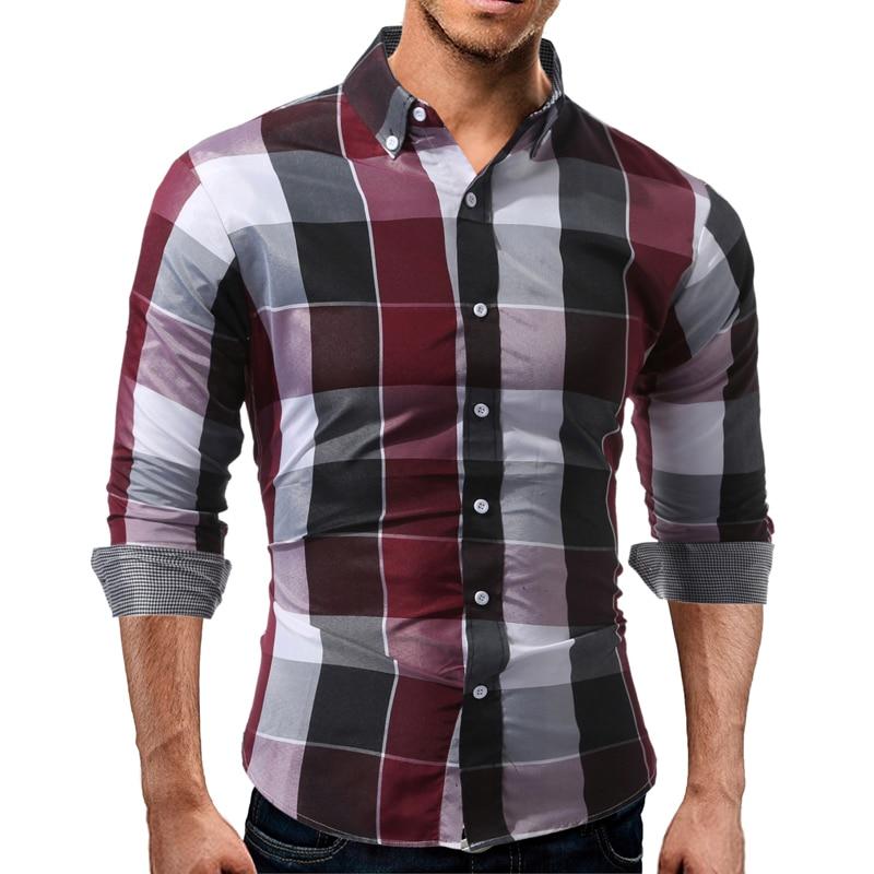 Men Plaid Shirts Autumn Fashion Men Clothes 2018 Long Sleeve Shirt Casual Male Slim Fit Shirt Camisa Social Masculina XXL