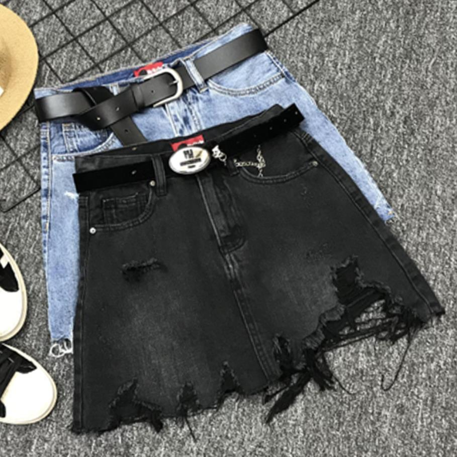 Black Denim Skirt Summer Women Hole Fashion High Waist Tassel Jeans Mini Skirt A-line