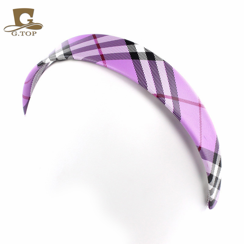 Classic Plaid font b Tartan b font Check Headband leather covered Hairband bow hoop Gossip Girl