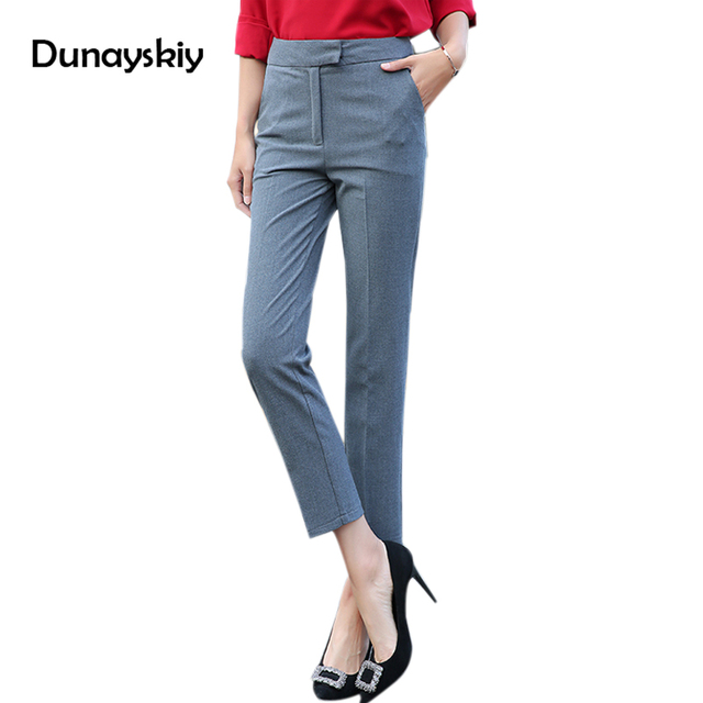 Ankle Length Professional Business Formal Pants Women Trousers Ladies Slim Female Work Wear ...