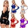 Women Pu Metallic Leather High Waist Club Bikini Tank Crop Top Bra Shirt Latex Wetlook Vest Gloves Shorts 3 Piece Set Lingerie