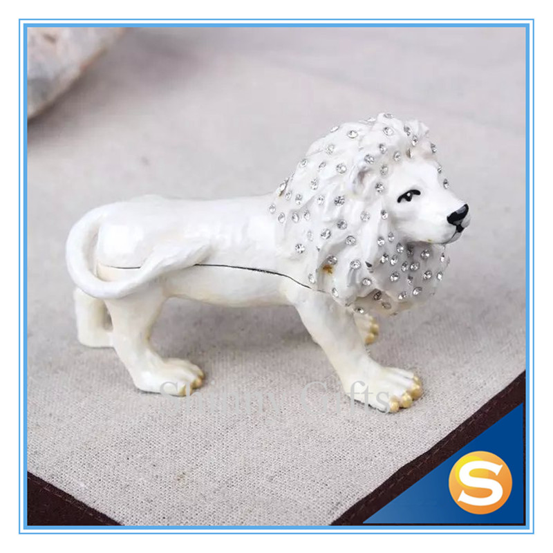 Lion Bejeweled Crystals Jewelry Trinket Box Jewel Gift Box for Man