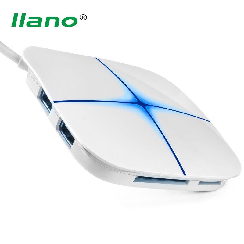 llano High Speed External USB HUB Adapter 6 Ports USB 2.0 HUB Splitter with LED Light for phone PC Laptop Tablet Camera Printer