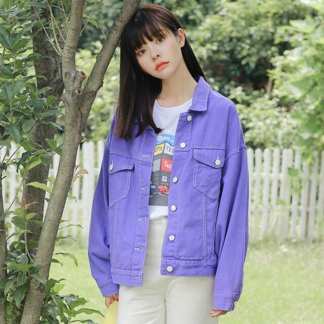 2018 Fashion Women Purple Denim Jackets Turn Down Collar Long Sleeve Casual Female Jeans