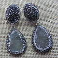 Natural Agate Druzy Paved Zircon Dangle Earrings
