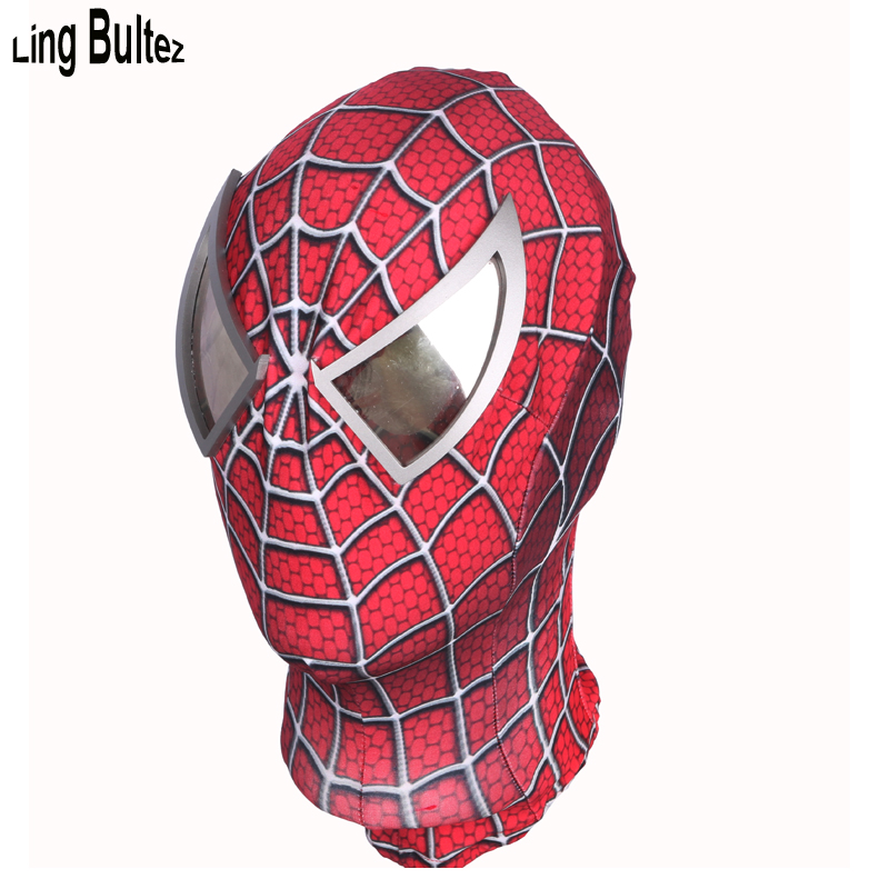 Ling Bultez High Quality 3D Print Raimi Spiderman Mask Silver Mirror Lens Spiderman Face Mask Super