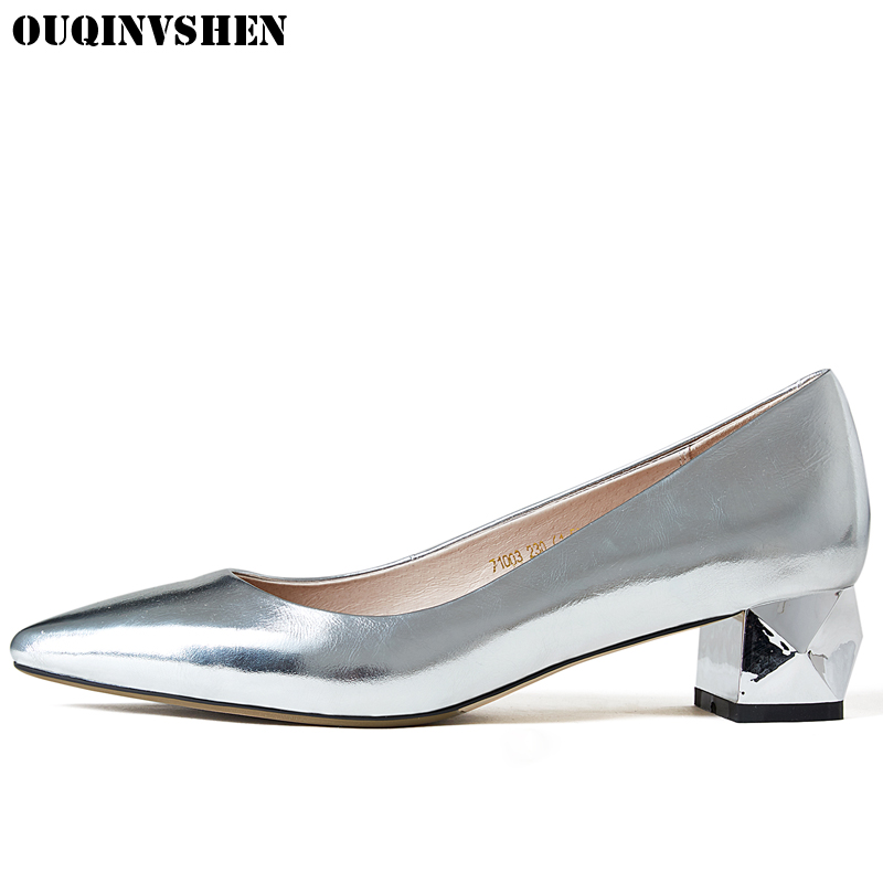 OUQINVSHEN Square Heel High Heels Pointed Toe Pumps Shallow Casual Fashion Woman Pumps Med Heel Ladies Girl Manual Single Shoes hee grand pointed toe pumps british style med heels patchwork t strap oxfords shoes woman casual vintage pump shoes xwd2469