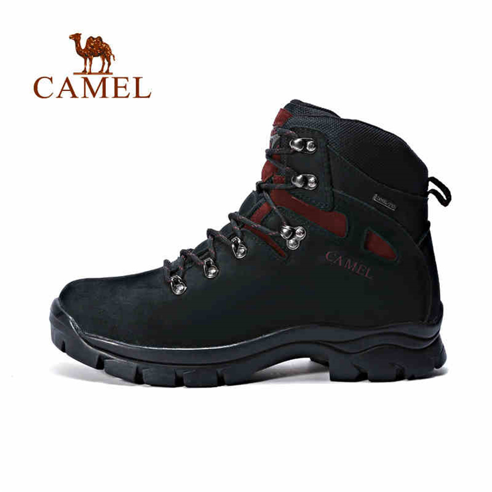 CAMEL Men Outdoor Sports Warm Brand Leather Lace-Up Waterproof Comfortable Tactical Hiking Shoes Mountain Climbing Trkking Boots