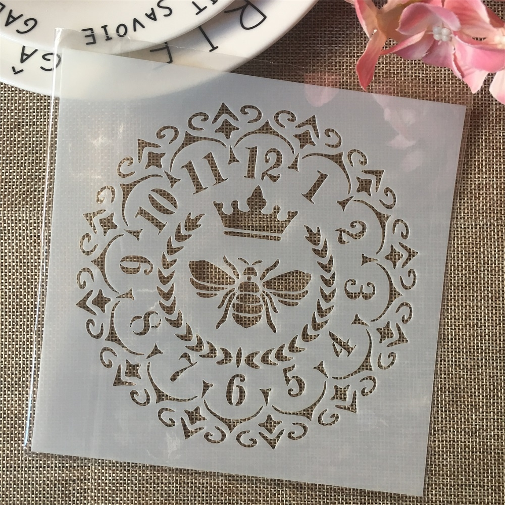6*6inch Clock Bee Dial DIY Layering Stencils Painting Scrapbook Coloring Embossing Album Decorative Card Template
