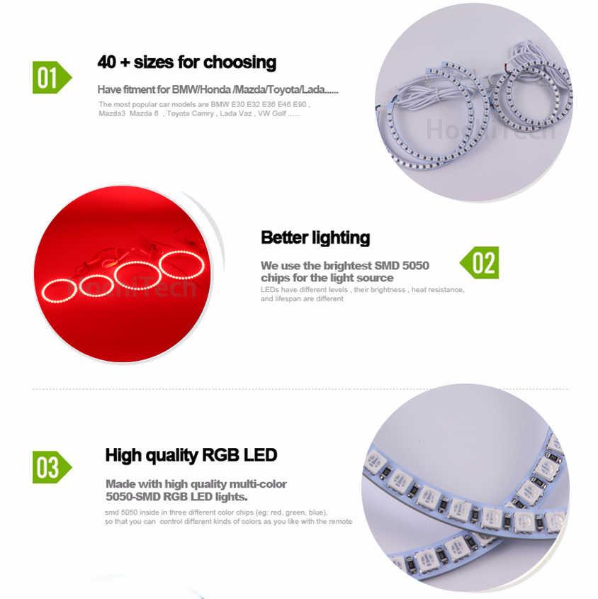 Nieuwste Koplamp multi-color RGB LED Angel Eyes Halo Ring Eye DRL RF Afstandsbediening voor BMW 3 Serie e36 1990-2000 4x131mm