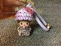 Cute Crystal Bow Monchichi Bag Charm Tag Key Chains Key Ring Luxury Rhinestone Handbag Charm Bag Bug Ladies Favor Accessories
