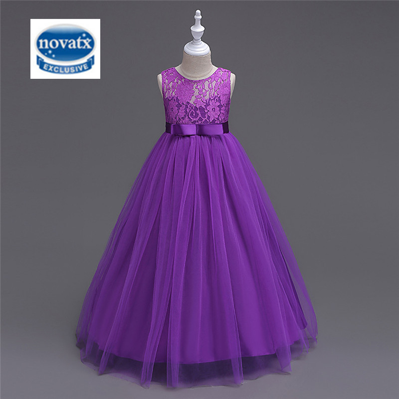 NOVATX girls dress 2017 wedding party evening dresses for girls children clothing lace a-line ball gown dress kids frocks BH9999