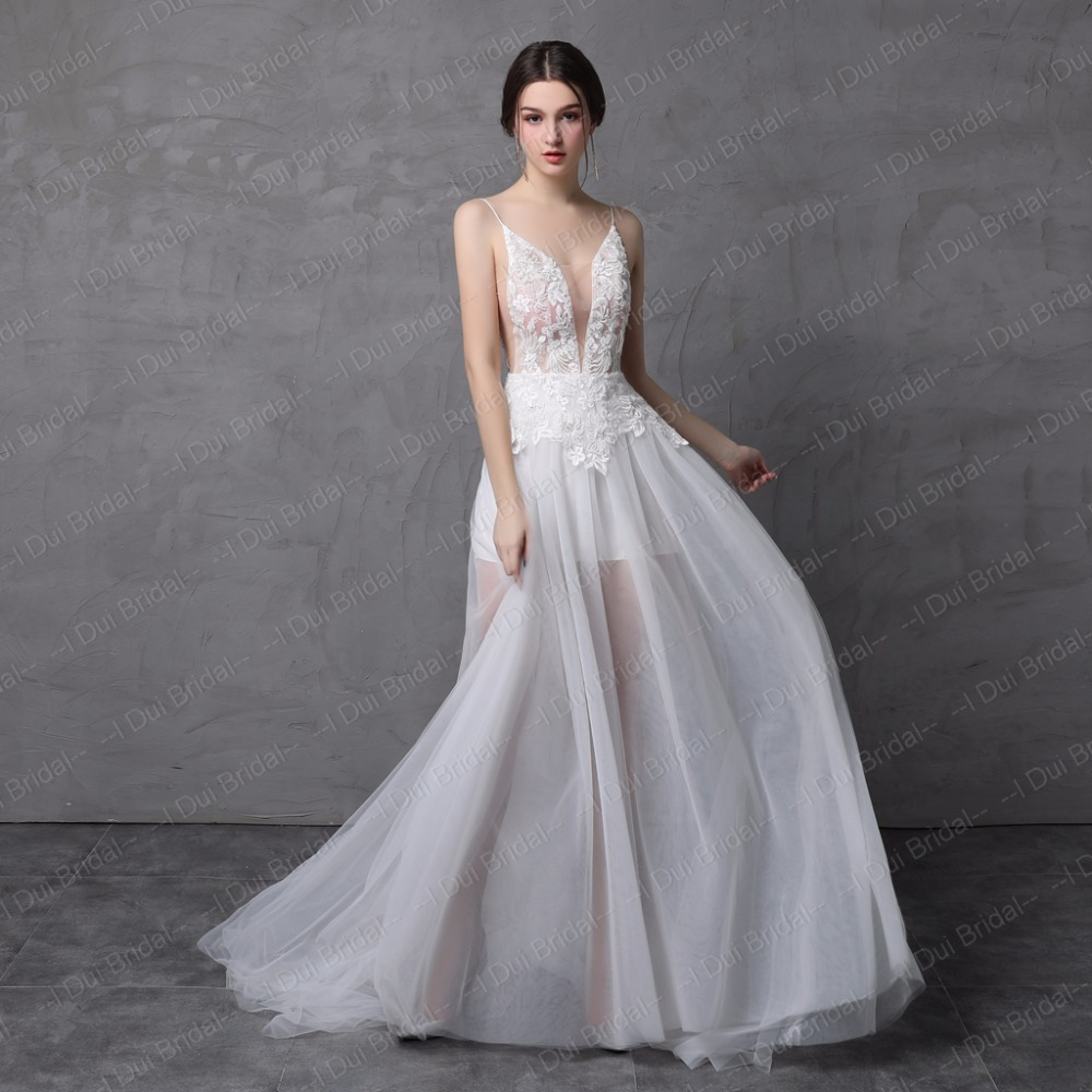 Light Beach Wedding Dress with Detachable Skirt Illusion Tulle Layer ...