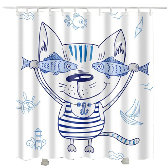 Cat Fish Printed bathroom curtain rideau douche douche gordijn Netherlands waterproof shower curtain