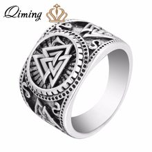 QIMING 2017 New Design Winter Men Ring Jewelry Valknut Viking Signet Ring Viking Rings Viking Jewelry Bijoux(Hong Kong,China)