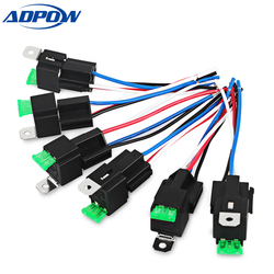 ADPOW 4Pin Fuse Relay Switch Harness Set 12V DC Auto Relay With Relay Socket 30A SPST Automotive