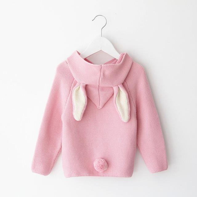 2016 Otoño Nuevo Bebé Niños Sweaters Conejo 3D Jersey de Algodón Niños Niñas Suéter de Punto para 1-5Y Niñas niños chaqueta de Punto Al Por Mayor