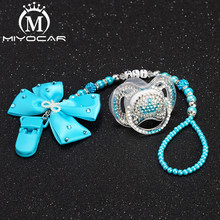 MIYOCAR personalised any name can make bling pacifier clip chain holder with blue white