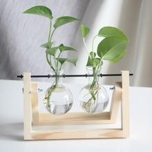 Glass and Wood Vase  Flower Pot Hanging Pots Home Decor Office Decoration Hydroponic Plant Table Desktop Bonsai Terrarium