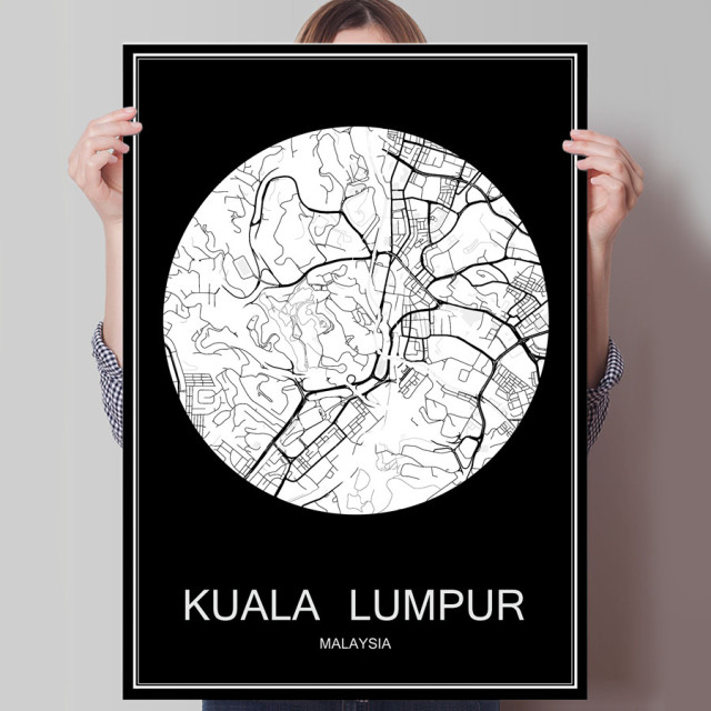 Abstract world city map print poster kuala lumpur malaysia print on abstract world city map print poster kuala lumpur malaysia print on paper or canvas wall sticker gumiabroncs Gallery