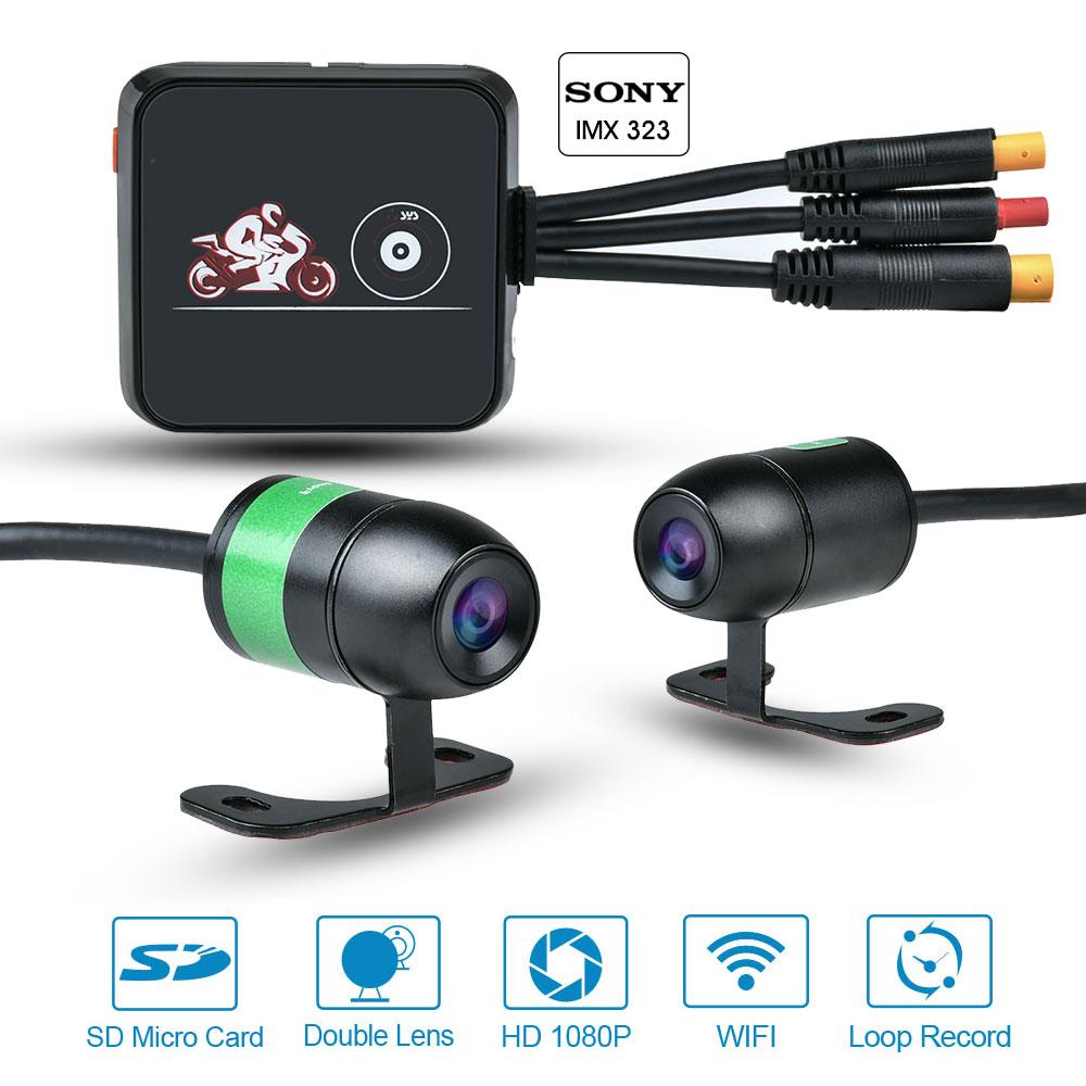 VSYS M6L WiFi Moto DVR enregistreur Sony IMX323 1080P vue avant et arrière étanche Moto double lentille Dash Cam SYS caméra d'équitation
