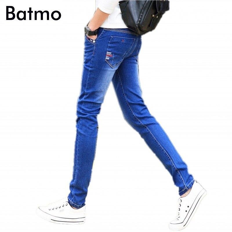 Batmo 2018 new arrival jeans men Fashion elasticity men's  jeans high quality Comfortable Slim male cotton jeans pants ,27-36.