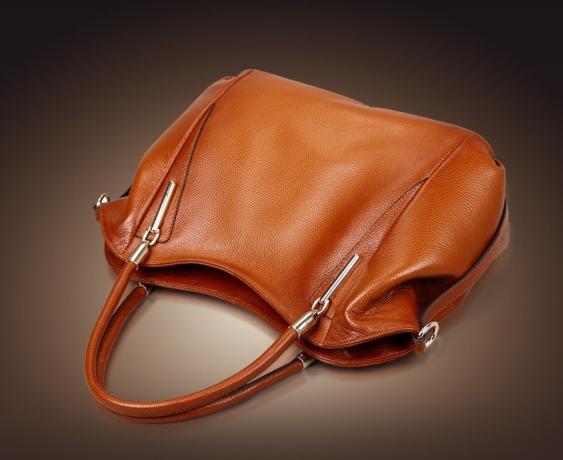 Vintage Women's Handbags Soft Genuine Leather Tote Crossbody Bag High Quality Cow Leather Shoulder Bags Female Brown Hand Bag 10