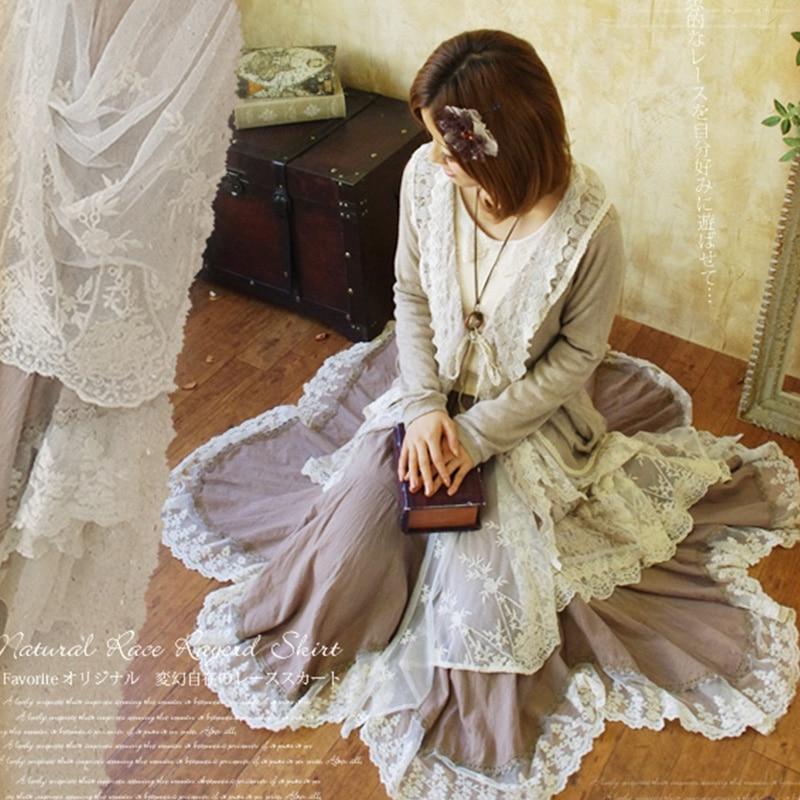 Harajuku Mori fille jupe plissée femmes vêtements asymétrique coton Patchwork dentelle broderie décontracté belle Kawaii jupes A180