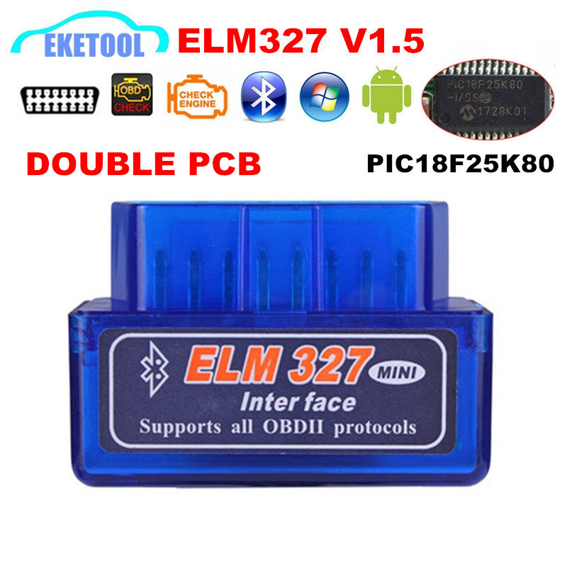 Hardware V1.5 Chip 25K80 New OBD2 ELM327 Bluetooth Auto Code Reader Super MINI ELM 327 Works ON Android Symbian Free Shipping plastic