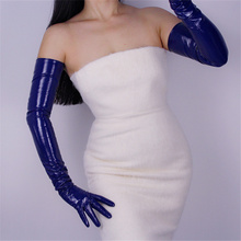 Fashion Extra Long Gloves Section Elbow Simulation Leather PU Female Bright Deep Blue 70cm BL08