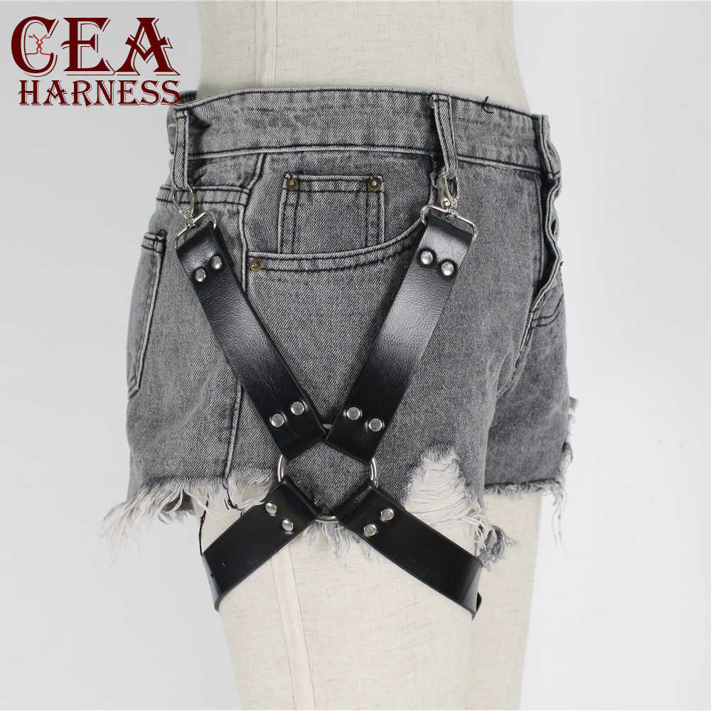 CEA.HARNESS  Leather Harness Women Thigh Straps Leg Garter Pastel Goth  Pu Leather Suspenders Sexy Garter Stocking Bondage Belt