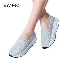 EOFK/Летняя женская обувь на плоской платформе; женские повседневные мягкие дышащие туфли из кружевной ткани; женская обувь без застежки; zapatos mujer