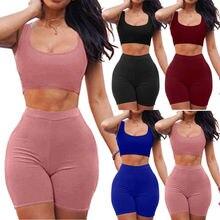Women 2 piece Playsuit Bodysuit Romper Set Sleeveless Crop Top Tank+Shorts S-XL недорого