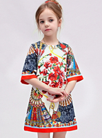 Children Clothing 6pcs LOT Spring Autumn Chinese Style Dresses Baby Gilrs New Fashion Flower Floral Print