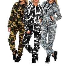 ZOGAA 2018 New Fashion Camouflage Tracksuit Jogging Suit Hooded Sweatshirt+jogger Pants 2 piece set women  hoodies S-2XL