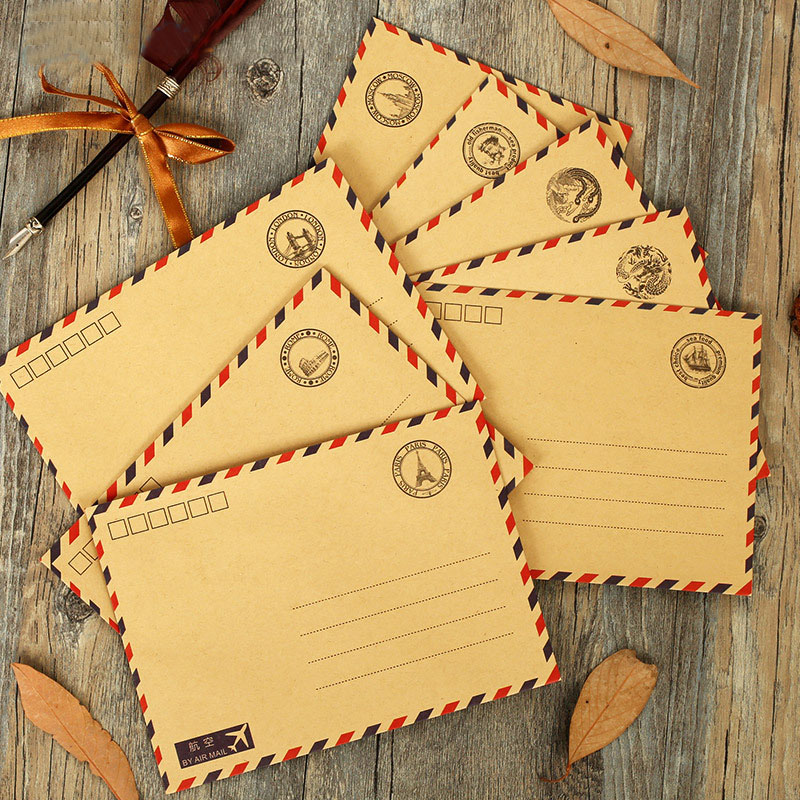 MQStyle 1Pcs Vintage Kraft Paper Postmarks Design Airmail Envelope DIY Gift Envelope Multifunction H0129